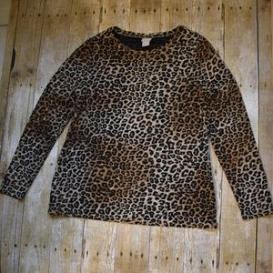 Chico's Leopard Print L/S Lined Top